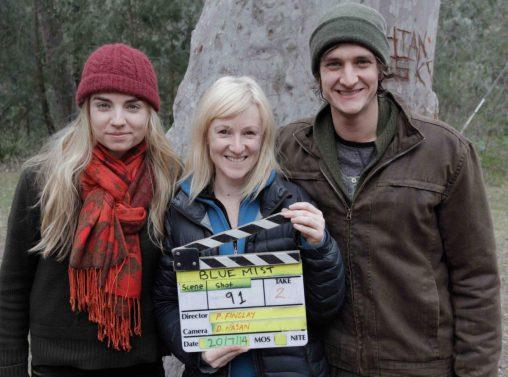 Findlay (centre) with actors Hayley Sullivan and Ryan Carter.