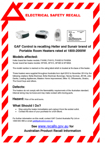 ACCC product recall notice